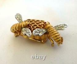 EXTREMELY RARE! Vintage 1960s BOUCHER Honeycomb & Bee Rhinestone Brooch