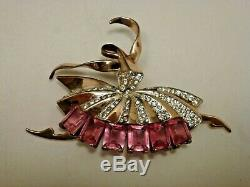 Early Vintage 1940's Marcel Boucher Sterling & Rhinestone Ballerina Brooch Pin