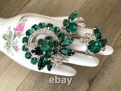 Earrings Brooch Eisenberg Set Rhinestones Emerald Green Vintage Signed