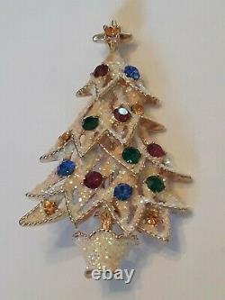 Eisenberg Ice 2 3/4 Large Signed Vintage Christmas Tree Pin Brooch Rhinestones