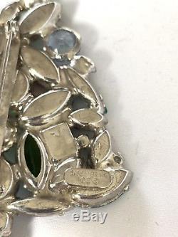 Eisenberg Ice Large Signed Christmas Tree Pin Brooch Vintage Chunky Rhinestones