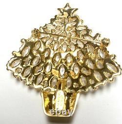 Eisenberg Ice Signed Large Christmas Tree Pin Brooch Vintage Rhinestones