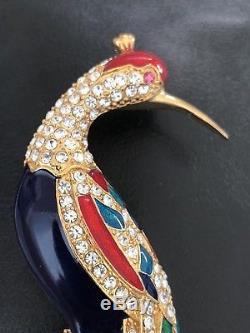 Eisenberg Ice Signed Vintage Huge 5 Rhinestone Enamel Peacock Pin Brooch