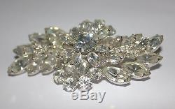 Eisenberg Vintage Brooch Gorgeous Large 3 X 1.75 Signed 1950's Rhinestones Pin