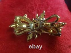 Elegant Vintage Coro Duette Brooch/Fur Clip. Sterling Gold Pearls Rhinestones