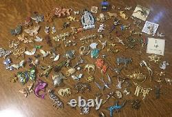 Estate Lbs All Animals Brooches Earrings Sets Lot Vintage Mod Signed Unsigned