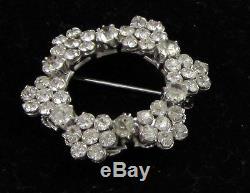 Estate Vintage Sparkly HUGE Rhinestone Wreath Circle Highly Pendant Pin Brooch