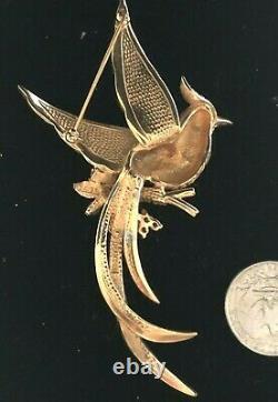 Exceptional Large Vintage Boucher Figural Flying Bird Brooch Rhinestone Flowers