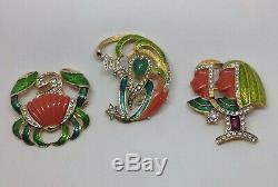 Exceptionally Rare Vintage Signed DeNicola COMPLETE Enameled Jeweled Zodiac Set