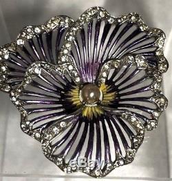 Exquisite Enameled Vintage Boucher Figural Rhinestone Pansy Flower Brooch