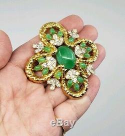 Exquisite Vintage Joseph Mazer JOMAZ Jade Glass Rhinestones Brooch pin
