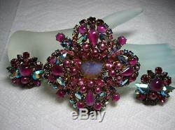 Exquisite Vintage Signed AUSTRIA Rhinestone LARGE Pin Brooch & EarringsDEMI SET