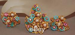 FABULOUS Vintage Signed Art Turquoise Bead/Pink Rhinestone Brooch/Earrings