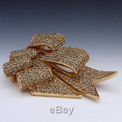 Fab! Huge Sparkly Vintage Ciner Grey Crystal Rhinestone Ribbon Bow Brooch Pin