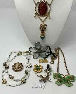 Fabulous Lot of Vintage Jewelry Rhinestone Enamel Signed Necklaces Brooches