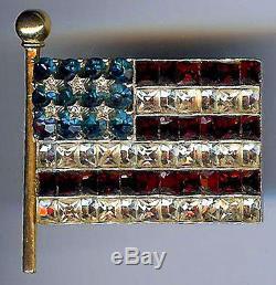 Fabulous Vintage 1940s Rhinestone Waving American Flag & Flag Pole Pin Brooch