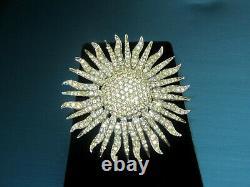 Fabulous Vintage Signed Boucher Clear Rhinestones Starburst Silver Tone Brooch