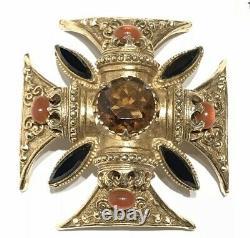 Florenza Maltese Cross Rhinestone Pendant Brooch Gothic Style Signed Vintage