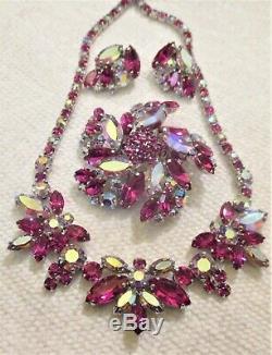 Gawjus Vintage Signed Sherman Fuchsia Aurora Rhinestone Necklace Brooch & Ears