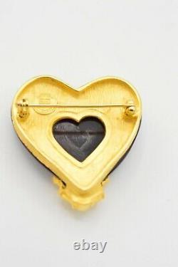 Givenchy Vintage Pin Brooch Red Gripiox Heart Brushed Gold Cherub Angel BinV