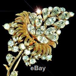 Gorgeous Vintage Coro Large Rhinestone Flower Brooch Pin