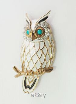Gorgeous vintage white enamel rhinestones owl bird pin brooch by Jomaz