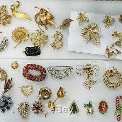 HUGE LOT 150 VINTAGE RHINESTONE PINS BROOCH Clip On Earrings Necklace Bracelets