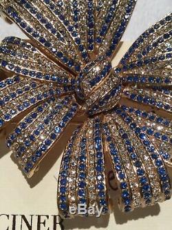 HUGE SPARKLY VINTAGE CINER Blue CRYSTAL RHINESTONE RIBBON BOW BROOCH PIN NIB