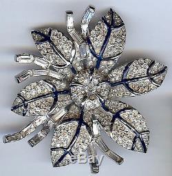 Halbe Vintage Dimensional Clear Rhinestone & Blue Enamel Flower Pin Brooch