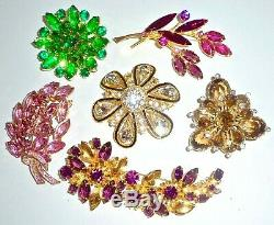 High End Vintage Jewelry Lot 6 All Big Colorful Rhinestone Brooches Incl Juliana