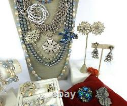 High Quality Vintage Lot Necklace Brooches Bracelet Earrings Rhinestones Costume