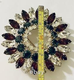 Huge Eisenberg Ice Round Signed Purple Teal Rhinestones Vintage New Brooch Pin