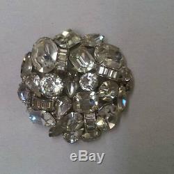 Huge Kramer Rhinestone 2 1/4 Vintage Brooch Pin Gorgeous