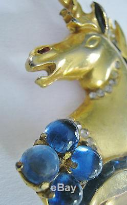Huge Rare Vintage Reinad Unicorn Figural Pin Brooch Sapphire Blue Cabochons