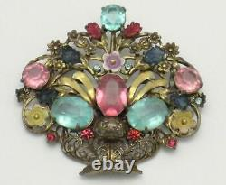 Huge Vintage Brass Rhinestone Fruit Salad Enamel Flower Basket Brooch Pin