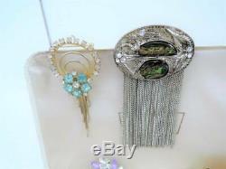 Huge Vintage Brooch Collectiondesignersrhinestonessterling205 Pc Count