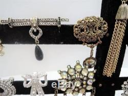Huge Vintage Brooch Lot178 Pcdesigner Signedrhinestones+++