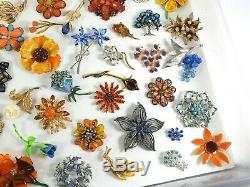 Huge Vintage Now Jewelry Brooches Pins Lot Costume Enamel Rhinestone Flowers #1
