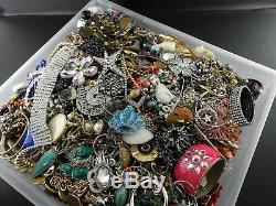 Huge Vintage Now Lot Rhinestones Jewelry Bracelet Brooch Necklace 18 LBS Pound