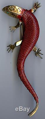 Huge Vintage Red Snake Skin Rhinestone Eyes Lizard Gecko Pin Brooch