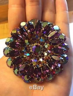 Huge Vintage Rhinestone Juliana D&E Multi-Level Purple Aurora Borealis Brooch