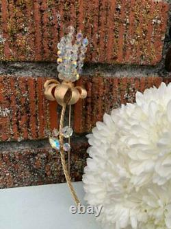 Huge Vintage Signed Vendome Rhinestone AB Glass Beaded Figural Flower Brooch Pin