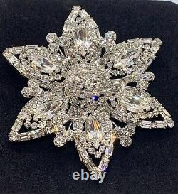 Huge Vintage Signed Weiss Sparking Rhinestone Flower Brooch Gorgeous Showstopper