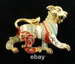 JOAN RIVERS Vintage Enamel Lion Pin Brooch Gold Tone Rhinestones Foo Dog