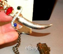 Jewel Encrusted Large Sterling Sword & Sheath Vintage Brooch withRhinestones