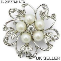 Job Lot Pearl Diamante Silver Flower Brooch Wedding Bridal Vintage Style Broach