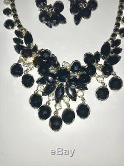 Juliana Vintage Jewelry Black Tie Bead Rhinestone Necklace Brooch Earring Set