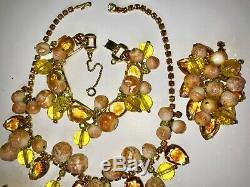 Juliana Vintage Jewelry Rhinestone Dangle Necklace Bracelet Brooch &Earring Set