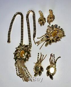 Juliana Vintage Jewelry Rhinestone Dangle Necklace Brooch & TWO Earrings Set