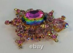 Juliana Vintage Pink Faceted Watermelon Glass Rhinestone Turtle Pin Brooch